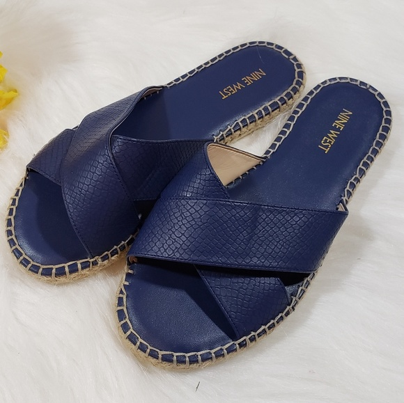 e1b5fdba0c6 Nine West navy espadrille side slip on sandals